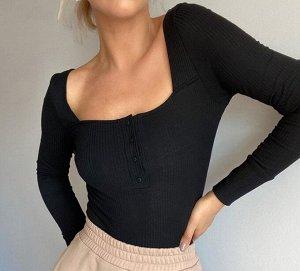 Женское боди с квадратным вырезом, ворот на кнопках, длинные рукава, цвет черный