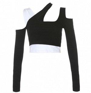 Женская двойная укороченная кофта, цвет белый/черный