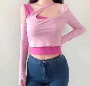 Женская двойная укороченная кофта, цвет светло-розовый/малиновый