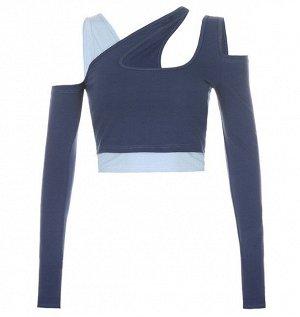 Женская двойная укороченная кофта, цвет голубой/синий