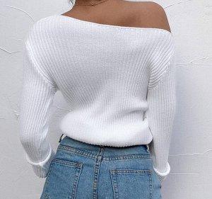 Женская кофта с длинным рукавом, спущенное плечо, цвет белый