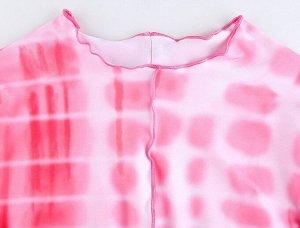 """Женский укороченный лонгслив, принт """"Пятна"""", цвет розовый"""