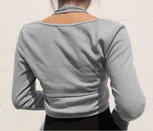 Женская укороченная кофта с топом, цвет серый
