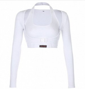 Женская укороченная кофта с топом, цвет белый
