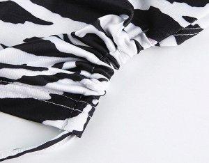 """Женский кроп-топ с длинным рукавом, принт """"Зебра"""", цвет черный/белый"""