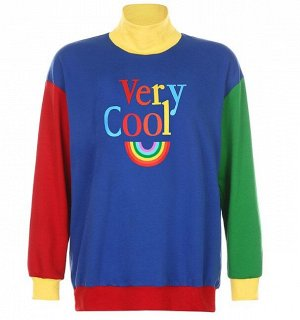 """Женский свитшот с высоким горлом, надпись """"Very cool"""", цвет синий/красный/зеленый/желтый"""