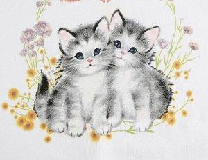 """Женский свитшот, принт """"Два котенка в цветах"""", цвет белый"""