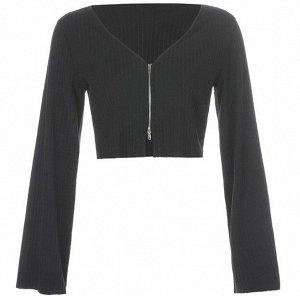 Женская кофта с широкими рукавами, цвет черный