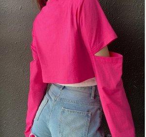 Женский кроп-топ, длинные рукава с разрезами, цвет розовый/белый
