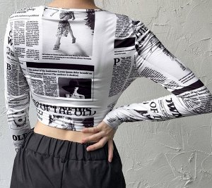 """Женская кофта с запахом, длинный рукав, принт """"Газеты"""", цвет белый/черный"""