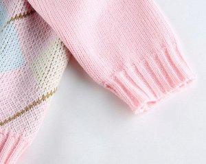 """Женский свитер, принт """"Ромбы"""", цвет розовый"""
