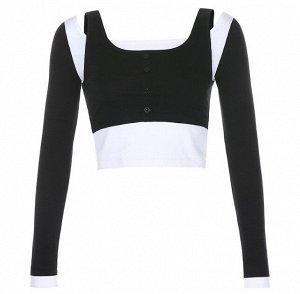 Женский кроп-топ двойной, длинный рукав, цвет черный/белый