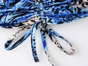 Женский кроп-топ с принтом, цвет синий/черный/бежевый