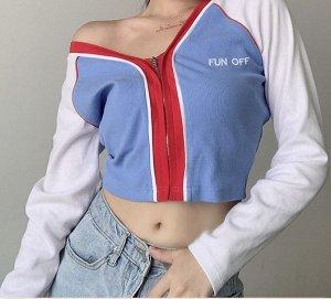 """Женская кофта на замке, надпись """"Fun Off"""", белый/голубой/красный"""