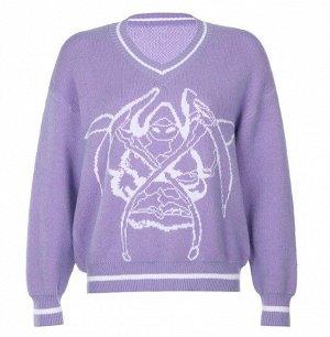 Женский свитер с V-образным вырезом, с принтом, цвет сиреневый
