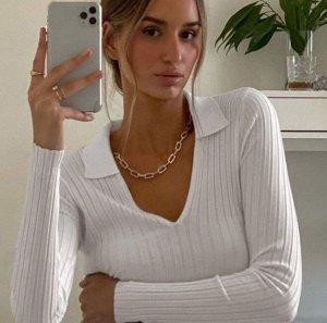Женская укороченная кофта с V-образным вырезом, цвет белый