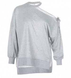 Женский свитшот на одно плечо, цвет серый