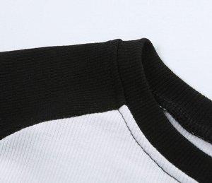Женский укороченный свитшот, цвет белый, черные рукава