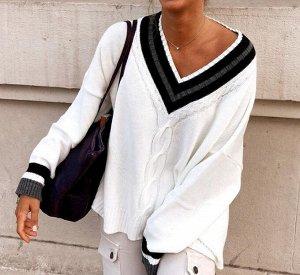 Женский свитер с V-образным вырезом, цвет белый