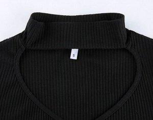 Женский кроп-топ с V-образным вырезом, цвет черный