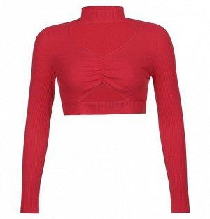 Женский кроп-топ с V-образным вырезом, цвет красный