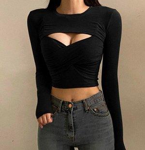 Комплект из женского топа с запахом и болеро с длинным рукавом, цвет черный