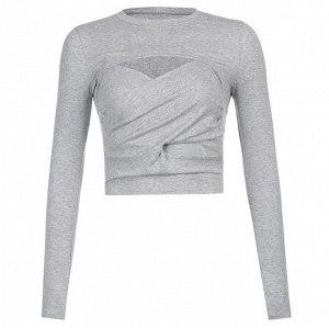 Комплект из женского топа с запахом и болеро с длинным рукавом, цвет серый