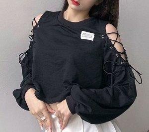 Женский укороченный свитшот с открытыми плечами, цвет черный
