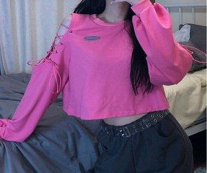 Женский укороченный свитшот с открытыми плечами, цвет розовый