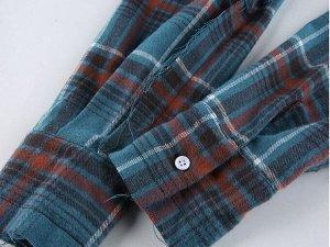 """Комплект из женского топа и болеро с длинным рукавом, имитация рубашки, принт """"клетка"""", цвет морской волны"""