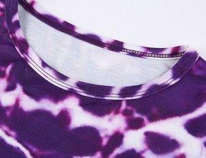 Женский укороченный лонгслив, с принтом, цвет фиолетовый