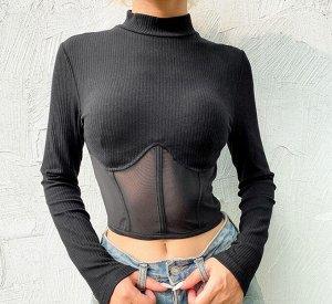 Женский кроп-топ с длинным рукавом, прозрачные вставки, цвет черный