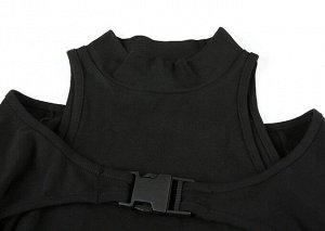 Женская кофта с вырезами на плечах, цвет черный