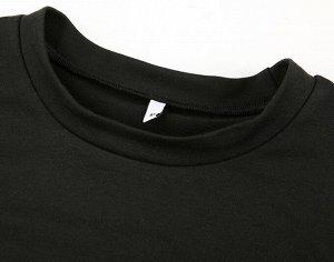 """Женский укороченный свитшот с широкими рукавами, принт """"Дракон"""", цвет черный"""