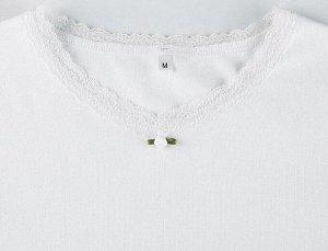 Женский трикотажный лонгслив, цвет белый
