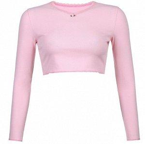 Женский трикотажный лонгслив, цвет розовый