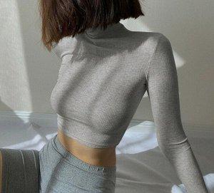 Женская укороченная водолазка, цвет серый