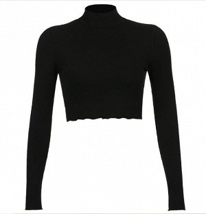 Женская укороченная водолазка, цвет черный