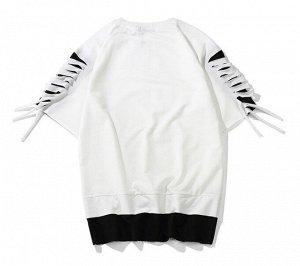 Футболка унисекс, прорези на рукавах, цвет белый/черный