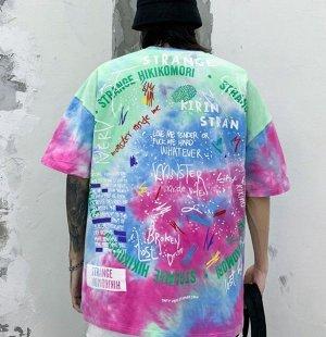 """Футболка унисекс, надпись """"Strangekin"""", надписи на спине, цвет розовый/голубой/зеленый"""