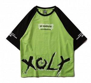 """Футболка унисекс, надпись спереди """"XOLY"""", принт на спине, цвет зеленый"""