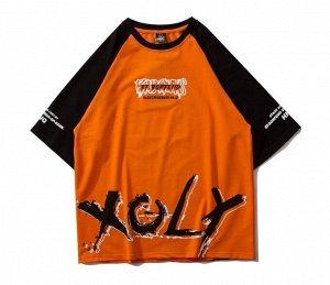 """Футболка унисекс, надпись спереди """"XOLY"""", принт на спине, цвет оранжевый"""