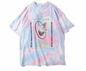 """Футболка унисекс, принт """"Ангел с розой на островке"""", надписи, цвет розовый/голубой/сиреневый"""