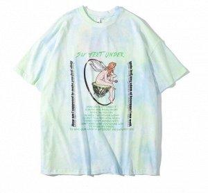 """Футболка унисекс, принт """"Ангел с розой на островке"""", надписи, цвет зеленый/голубой"""