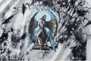 """Футболка унисекс, принт """"Ангел в голубом свечении на ступенях"""", надпись """"Darkness, цвет серый/черный"""