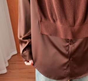 Комбинированная рубашка, коричневый