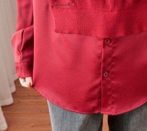 Комбинированная рубашка, бордо