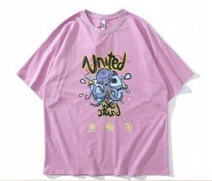 """Футболка унисекс, принт """"Осьминог с крестом"""", надпись """"United we stand"""", цвет розовый"""