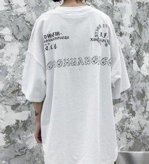 """Футболка унисекс, принт """"Заяц и часы"""", надписи, цвет белый"""