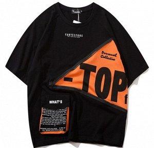 """Футболка унисекс, надпись """"Top"""", декоративная молния, цвет черный"""